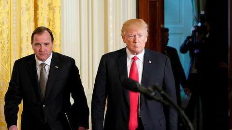 President Donald Trump uttrykker skuffelse over Sveriges statsminister Stefan Löfven i saken om rapperen A$AP Rocky. Her er Trump og Löfven under sistnevntes besøk i Det hvite hus i mars i fjor.