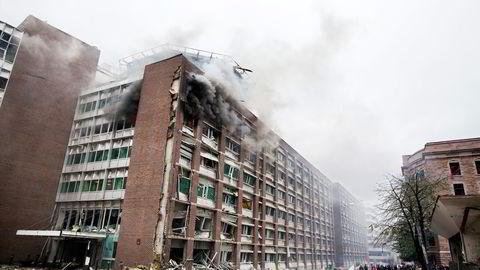 Regjeringskvartalet i Oslo etter terrorangrepet 22. juli 2011. Foto: Per Thrana
