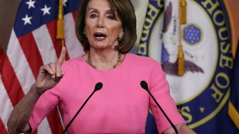 Nancy Pelosi på den ukentlige pressekonferansen på Capitol Hill i Washington torsdag.