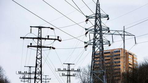Oslo 20180302. Illustrasjonsbilde på strøm, høyspentmast, energi, energipriser, strømpriser, strømkabel. Foto: Ole Berg-Rusten / NTB Scanpix ---