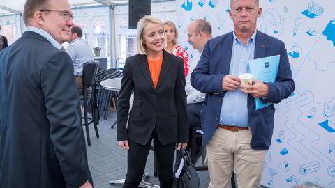Sjef for Politiets sikkerhetstjeneste (PST), Bendicte Bjørnland (i midten) før en debatt om digitale trusler under Arendalsuka sammen med sjef det finske sikkerhetspolitiet Supo, Antti-Juha Pelttari, og sjef for det svenske sikkerhetspolitiet Säpo, Klas Friberg.