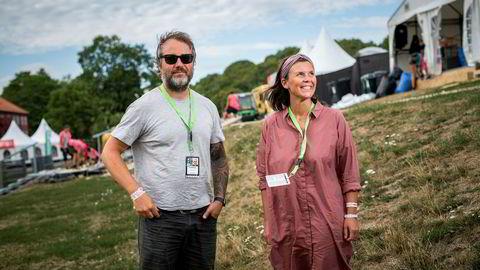 Eier og bookingsjef for Øyafestivalen Claes Olsen og eier og styremedlem Linn Lunder er klare for øyafestivalen.