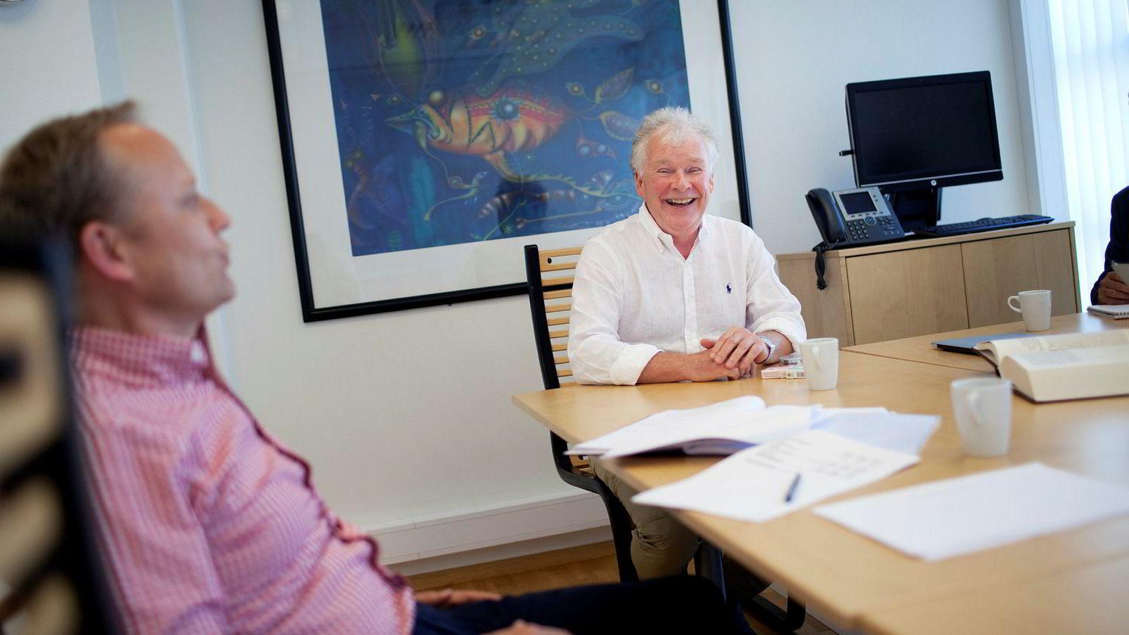 Crudecorp-sjef Geir Utne Berg og oljeselskapseier Sigurd Steen Aase merker den globale oljeoppturen også i kontorene i Haugesund.