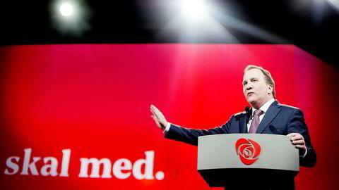 Sveriges statsminister og Sosialdemokratenes partileder Stefan Löfven leder målingene før valget i Sverige.