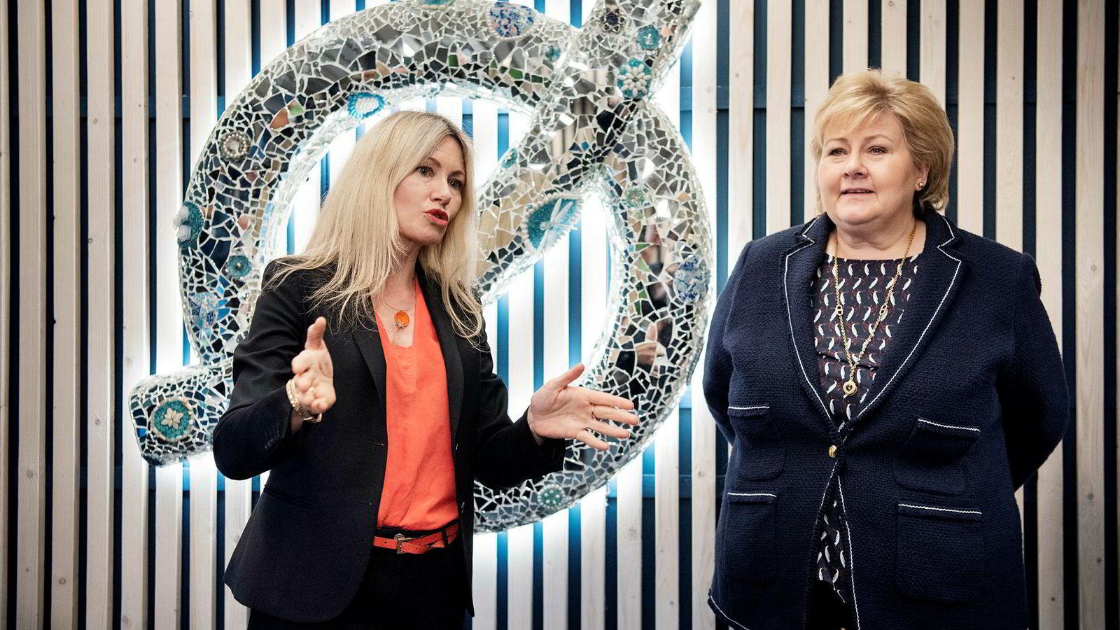Nysnø-sjef Siri M. Kalvig fikk tirsdag besøk av statsminister Erna Solberg i lokalene i Stavanger. Der ble også Nysnøs tredje investering kunngjort, i sensorselskapet Disruptive Technologies.