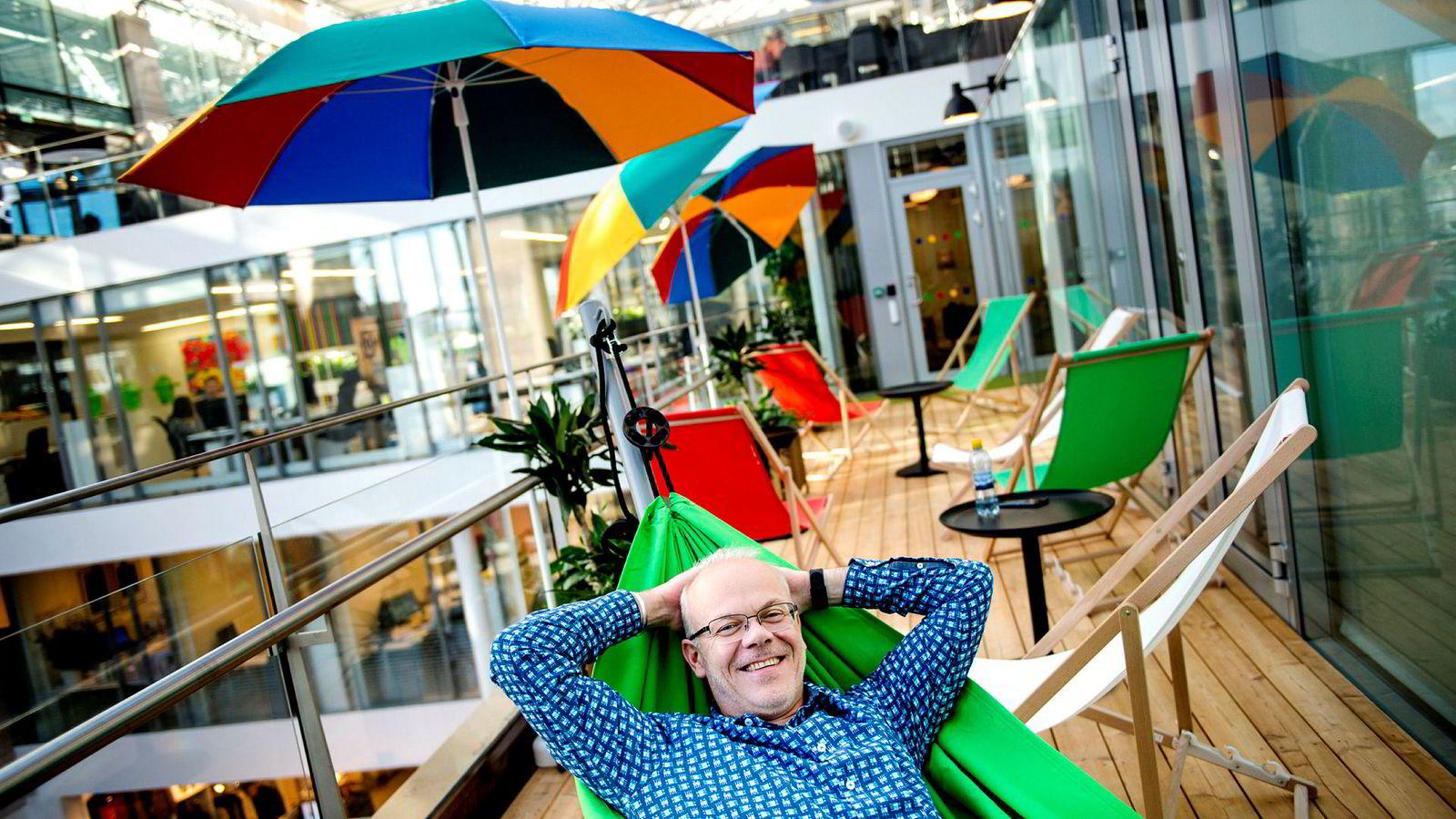 Jan Grønbech er Google-sjef i Norge. Her i selskapets moderne lokaler på Aker Brygge.