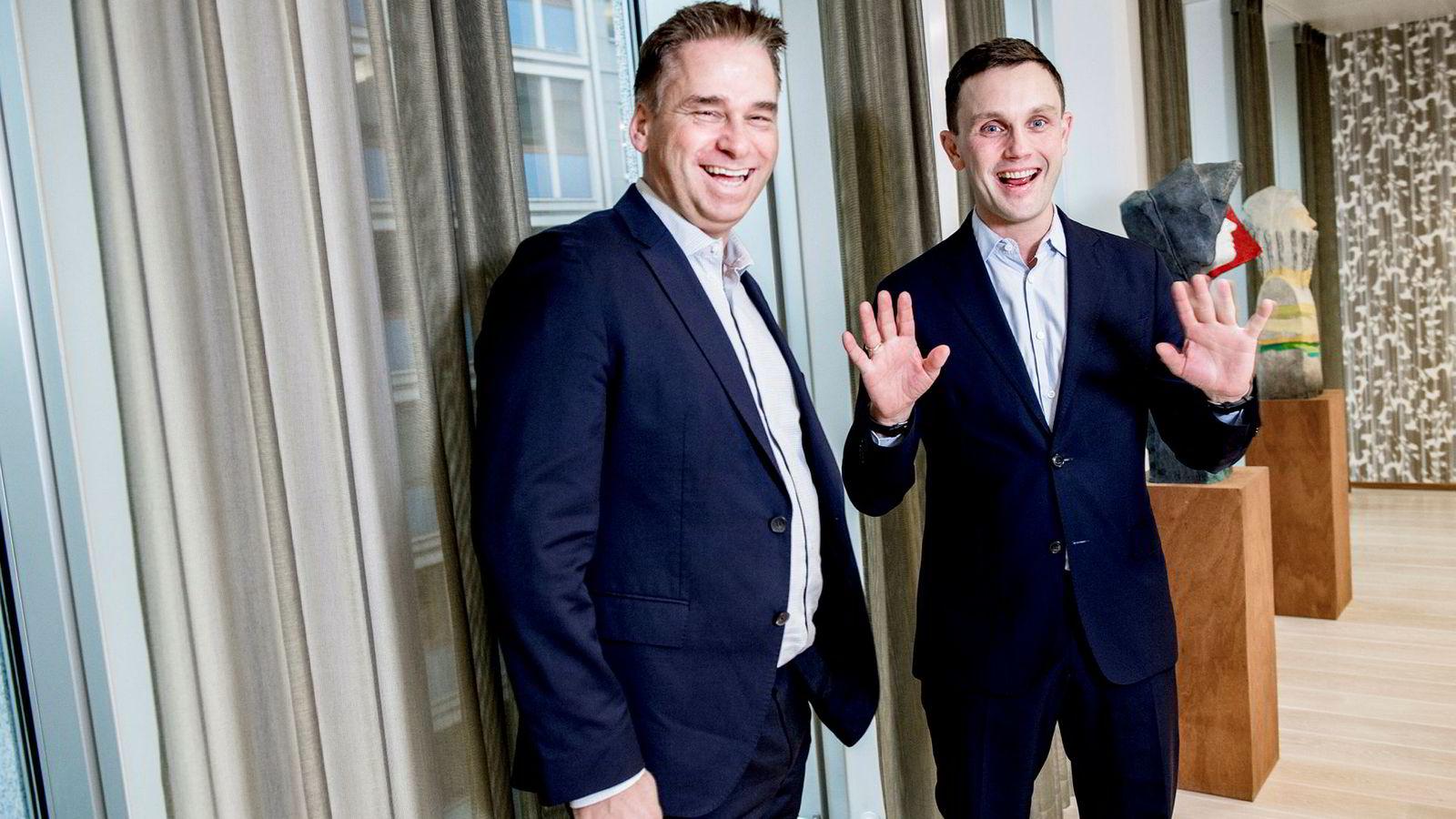 Torkild Hebbert Haukaas (til høyre) er kalt «wonderboy» i Høyre, men sa farvel til politikken etter vel to år i fjor høst. Nå blir han partner hos sin gamle arbeidsgiver Sverre Flåskjer i oppkjøpsfondet Herkules Capital.