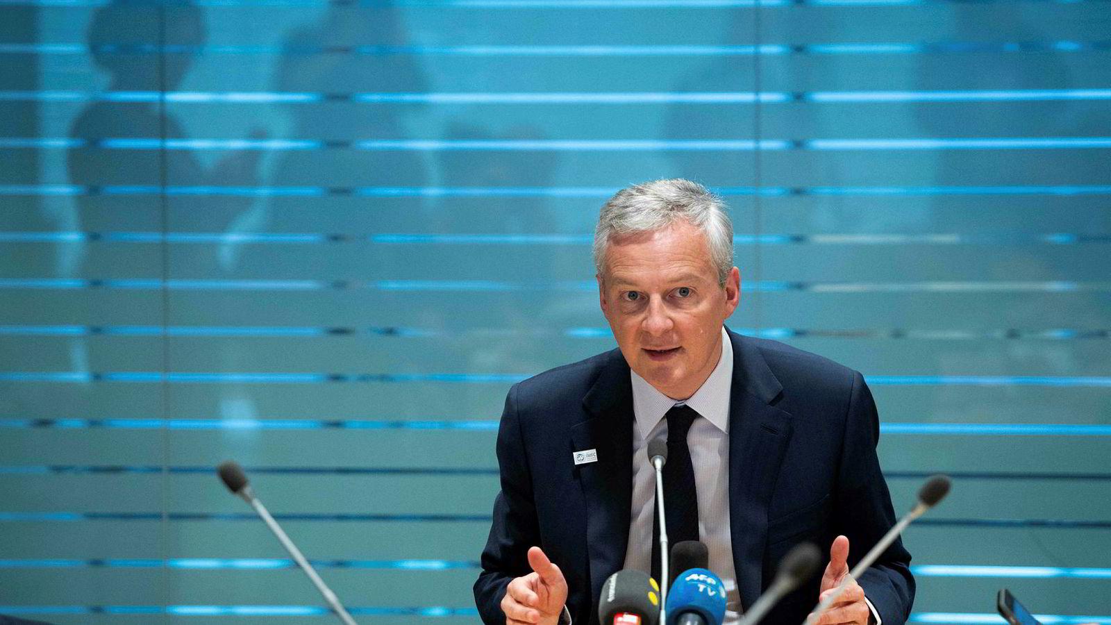 Frankrikes finansminister Bruno LeMaire mener eurosamarbeidet er i fare.