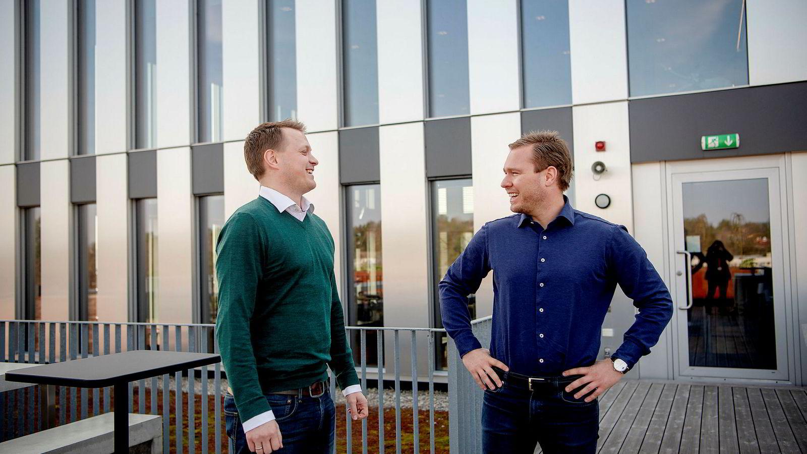 Einar Brummenæs (til venstre), gründer og sjef for fintech-selskapet Abelee får med seg Aker på eiersiden og får i samme slengen Akers Per Kristian Reppe som finansdirektør.