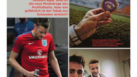 Snusfeber. Fra januarnummeret av det tyske fotballmagasinet 11 Freunde. Jamie Vardy med energidrikk, Marco Reus med v-fingre (belgiske Adnan Januzaj i forgrunnen).