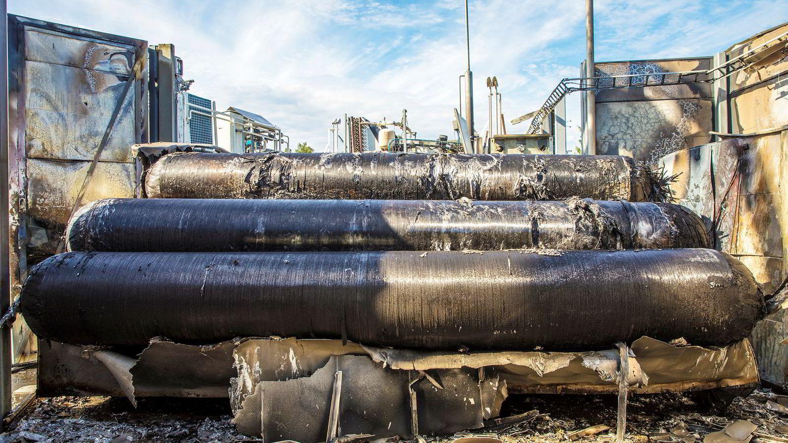 En hydrogentank eksploderte på en Uno-X-stasjon i Sandvika mandag denne uken.