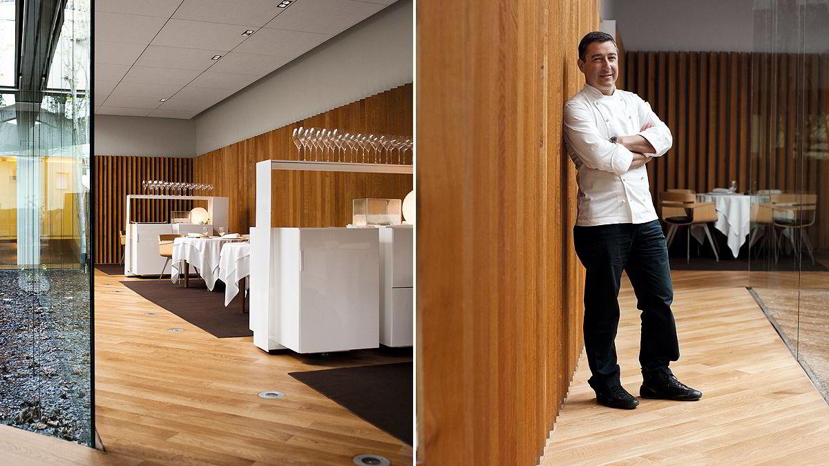 De moderne lokalene (over) i utkanten av Girona slipper dagslys og natur rett inn i spisesalen. Det sies at lokalene, som var nye i 2007, var det som trakk El Celler de Can Roca opp fra to til tre Michelinstjerner. Joan Roca er kjøkkensjefen, men alle retter utvikles i et samarbeid mellom ham og brødrene. ¿ Det er uvanlig at en restaurant som denne drives av tre brødre, sier Roca.