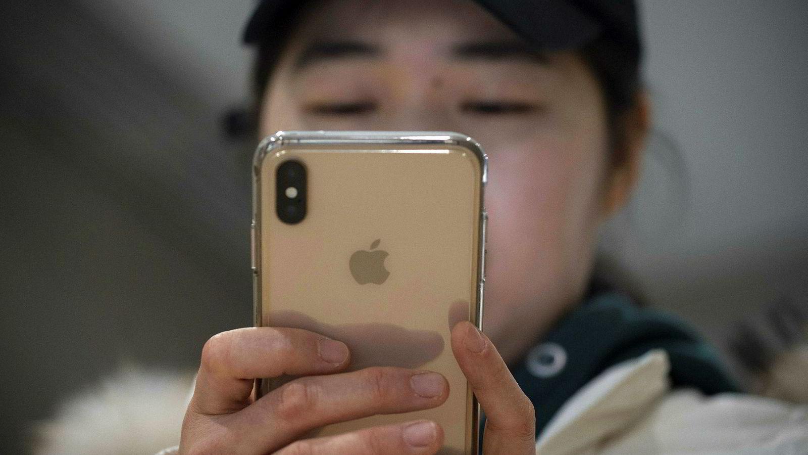 – Vi er oppmerksomme på problemet, og har funnet en løsning som vil bli gitt i en systemoppdatering senere denne uken, uttaler Apple om FaceTime-overvåkningsfunksjonen. Her et illustrasjonsfoto av Iphone.