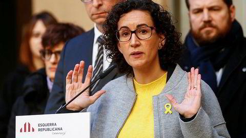 Marta Rovira i venstrepartiet ERC legger bort planene om umiddelbar katalansk løsrivelse fra Spania.