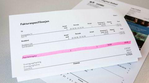 Etter DNs beregninger kan Telenor sitte igjen med over 330 millioner kroner i året fra papirfakturagebyrer. Her er en faktura fra Telenors Canal Digital med gebyr på 59 kroner.