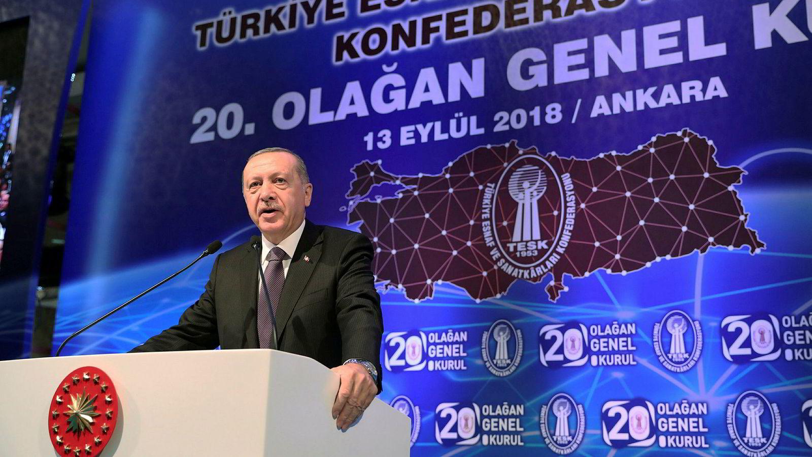 Tyrkias president Recep Tayyip Erdogan under en tale i Ankara onsdag der han gikk sterkt imot å heve rentene.
