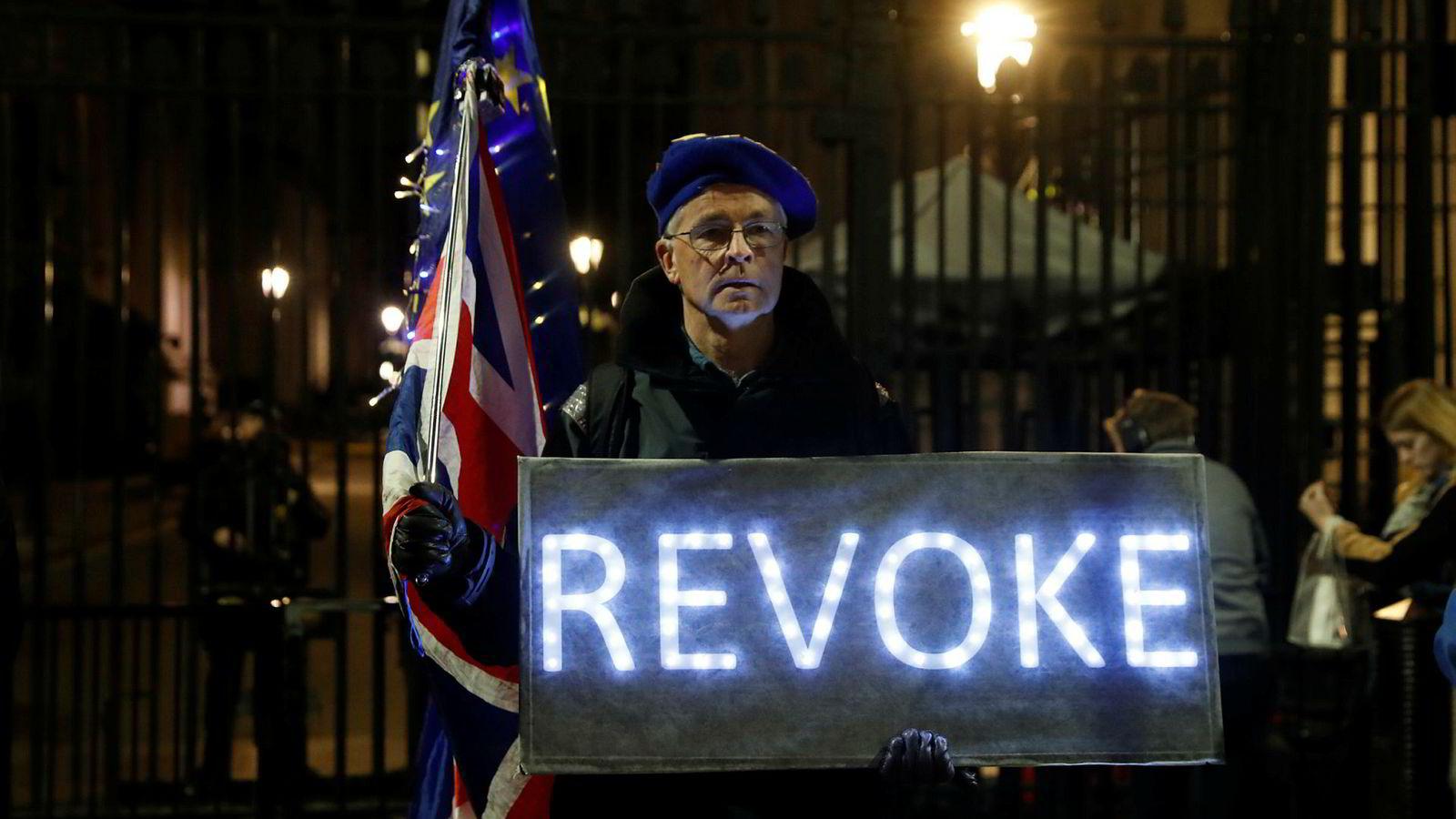 En brexit-motstander utenfor statsministerboligen i Downing Street 10 maner til å trekke tilbake utmeldingssøknaden til EU. Andre tar til nettet for å uttrykke sine meninger.