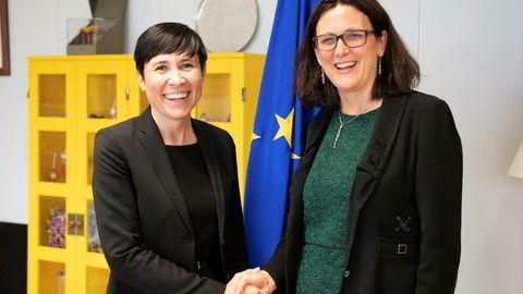 Utenriksminister Ine Eriksen Søreide møtte EUs handelskommissær Cecilia Malmström i Brussel tirsdag denne uken.