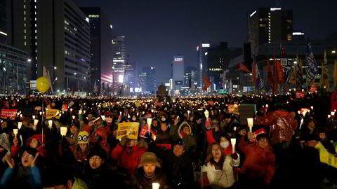Fra demonstrasjonene i Seoul lørdag.