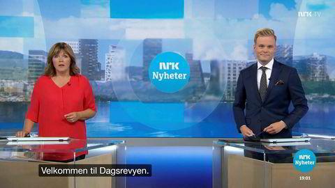 Cato Husabø Fossen (t.h.) har vært politisk reporter og Dagsrevyen-anker i NRK siden 2016. Nå går han over i politikken. Her avbildet med sin Dagsrevyen-makker Ingvild Bryn.
