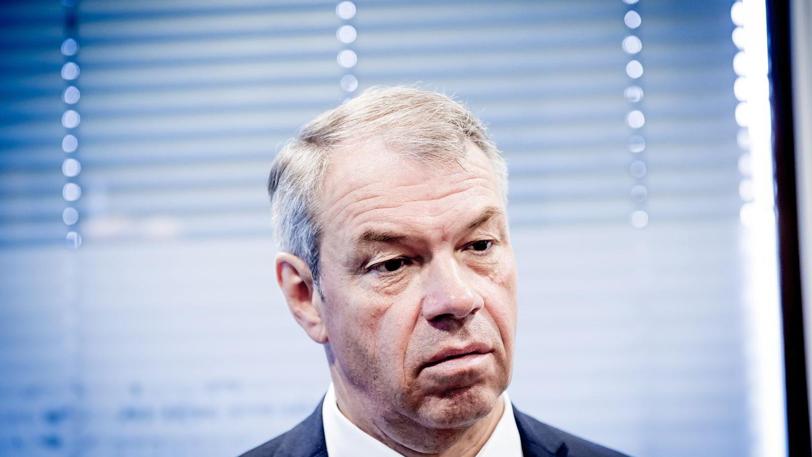 Arne Austreid, konsernsjef i Sparebank 1 SR-Bank under resultatfremleggelse for SR-Bank. Foto: Gorm K. Gaare