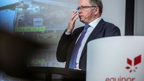 Børsen største selskap, Equinor, vendte ned i september og har etablert en fallende trendkanal. Dette indikerer at kjøpsinteressen blant investorene er avtagende og signaliserer videre nedgang, skriver Asbjørn Taugbøl. Her Equinors konsernsjef Eldar Sætre.