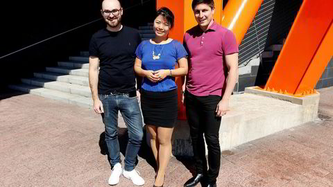 Disse tre vil gi penger og drahjelp til norske gründere med gode VR-ideer. Fra venstre: Harri Manninen i Nordic VR Startups, Chien Nakayama i gumi Inc og Suman Rath i Nordisk Film.