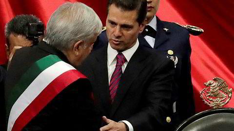 Mexicos ekspresident Enrique Peña Nieto beskyldes for grov korrupsjon. Her fra 1. desember i fjor da han overlot presidentvervet til Andrés Manuel Lopez Obrador.