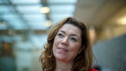 NHOs administrerende direktør Kristin Skogen Lund sier hun er veldig glad for at norske bedrifter skånes for eventuell beskyttelsestoll fra EUs side.