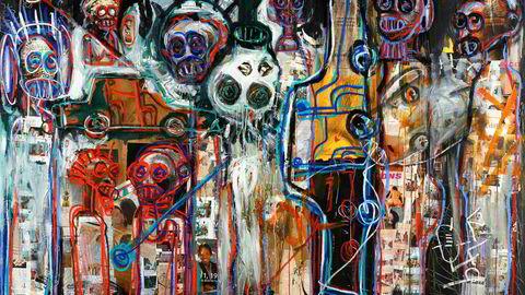 Indre verden. Den ivorianske kunstneren Abdoulaye Diarrassouba, eller Aboudia, er kjent for sine store malerier med «en brutal energi som kombinerer uskyld og spontanitet med en skildring av en mørk, indre verden», heter det i katalogteksten.