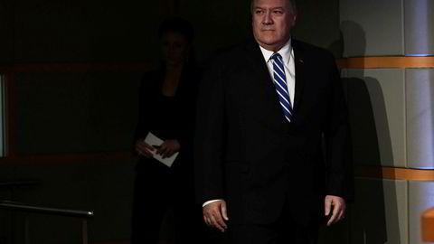 USAs utenriksminister Mike Pompeo legger skylden på Iran for tankskip-angrepet torsdag.