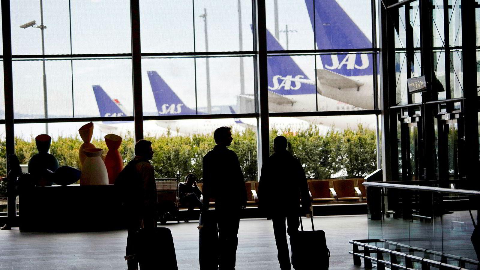 Disse flyene kan bli stående her på Gardermoen hvis det blir streik i SAS fredag.
