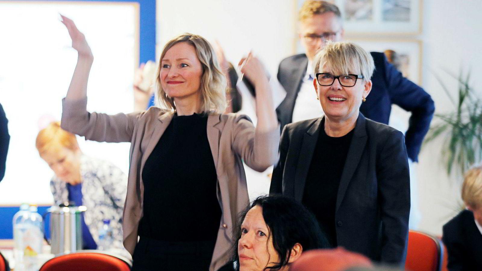 Byråd Inga Marte Thorkildsen (SV) (til venstre) fortsetter i sin stilling, mens Astrid Søgnen slutter som utdanningsdirektør.