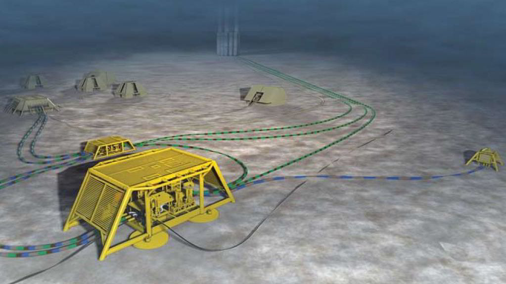 Aker Solutions-konkurrentene Technip og FMC finner sammen på subsea-området. Her en skisse av en FMC undervannsintallasjon. Illustrasjon: FMC.