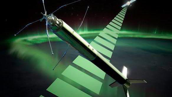 ICI-4-raketten får en flytid på ti minutter og når en topphøyde på 350 kilometer. Illustrasjon: Trond Abrahamsen, Andøya Space Center