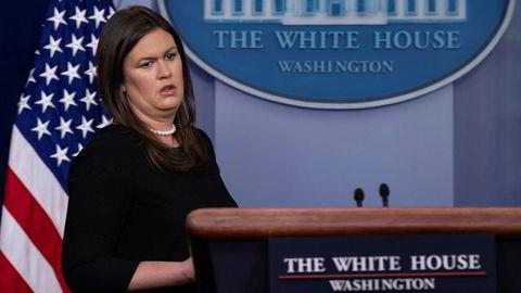 Kommunikasjonssjef Sarah Sanders i Det hvite hus reagerer kraftig på den anonyme kronikken i New York Times.