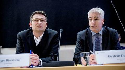 LOs sjeføkonom Roger Bjørnstad (til venstre) og NHOs sjeføkonom Øystein Dørum.