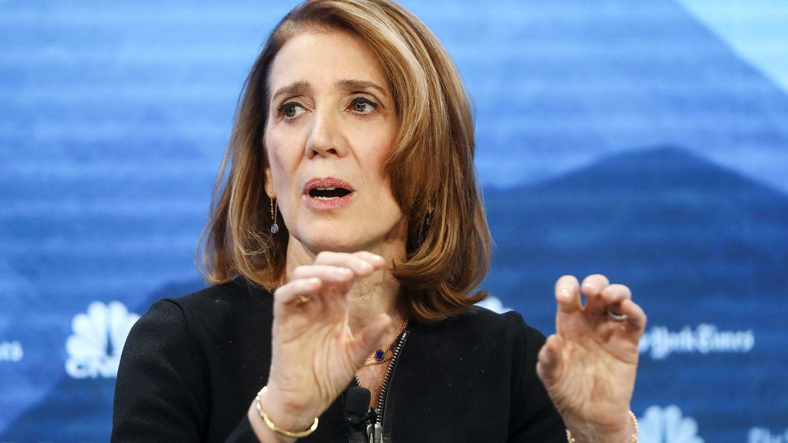 Ruth Porat, som er chief financial officer i Google, ble presset om selskapets dominerende stilling under en panelsamtale på Verdens økonomiske forum i Davos tirsdag.
