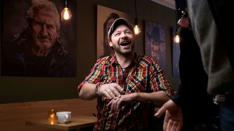 Petter Nyquist på kaffebaren =Kaffe i forbindelse med tv-serien «Petter uteligger: En ny sjanse». Foto: Lars Myhren Holand/TV2