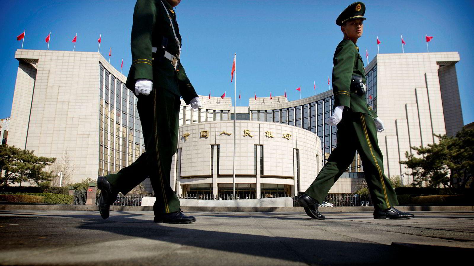 Det kinesiske bankvesenet ble nettopp verdens største etter å ha passert eurolandene. Her fra Kinas folkebank i Beijing.