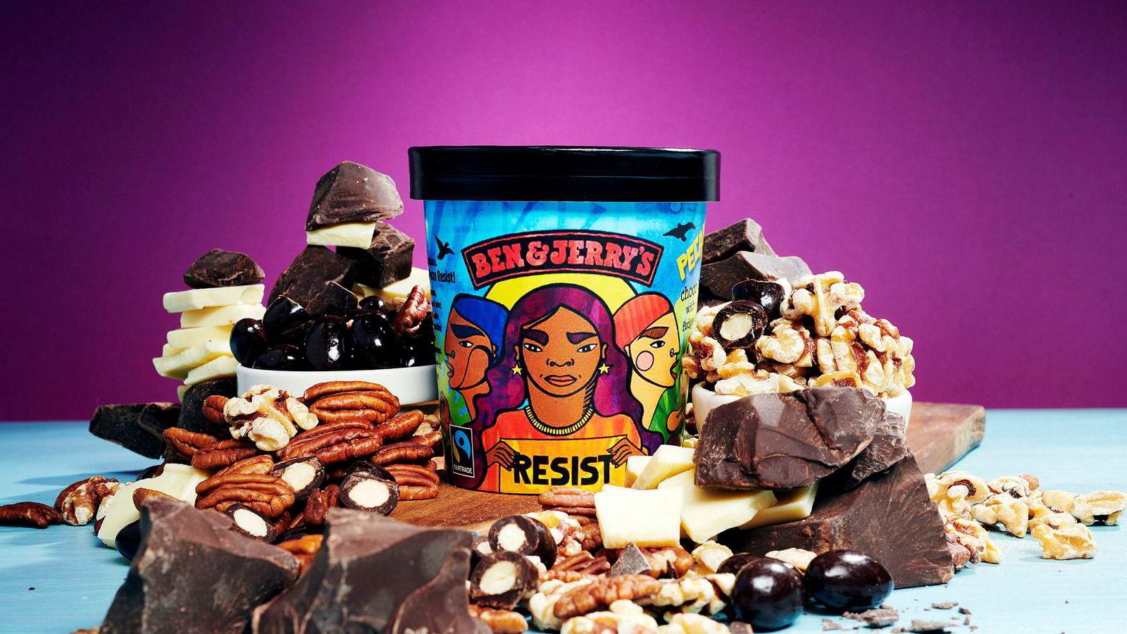 Ben & Jerry's lanserte tidligere i år iskremen Pecan Resist – iskremen som er mot den amerikanske presidenten Donald Trump og for miljø, likestilling mellom kjønn og raser og immigrantrettigheter.