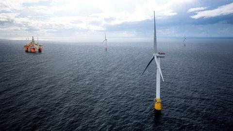 Slik kan Tampen-området bli seende ut hvis vindparken Hywind Tampen realiseres. 11 flytende turbiner er ment å bidra til kraftforsyningen til fem oljeplattformer.