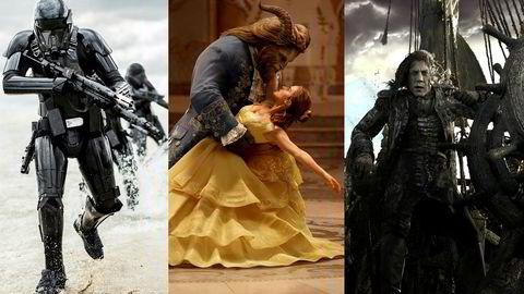 «Rogue One: A Star Wars Story», «Skjønnheten og udyret» og «Pirates of the Caribbean: Salazar's Revenge» demmet opp Disneys regnskapsår, etter sviktende dvd-salg. Foto: The Walt Disney Company Nordic