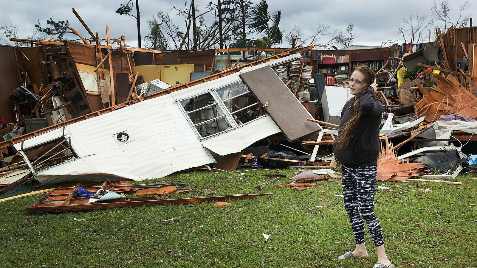 Store skader mange steder i Florida etter orkanen Michael.