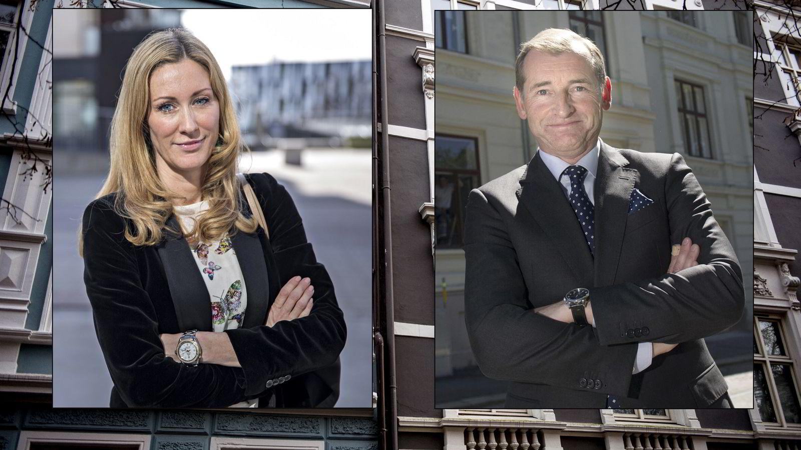 Administrerende direktør Hedda K. Ulvness i Eie Eiendomsmegling og administrerende direktør Carl O. Geving i Norges Eiendomsmeglerforbund.