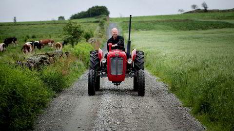 Bjørn Rygg durer over gamle tomter på en av sine klassiske Massey Ferguson-traktorer. Traktorverkstedet han startet som 21-åring var utgangspunktet for det omfattende konsernet BR Industrier.