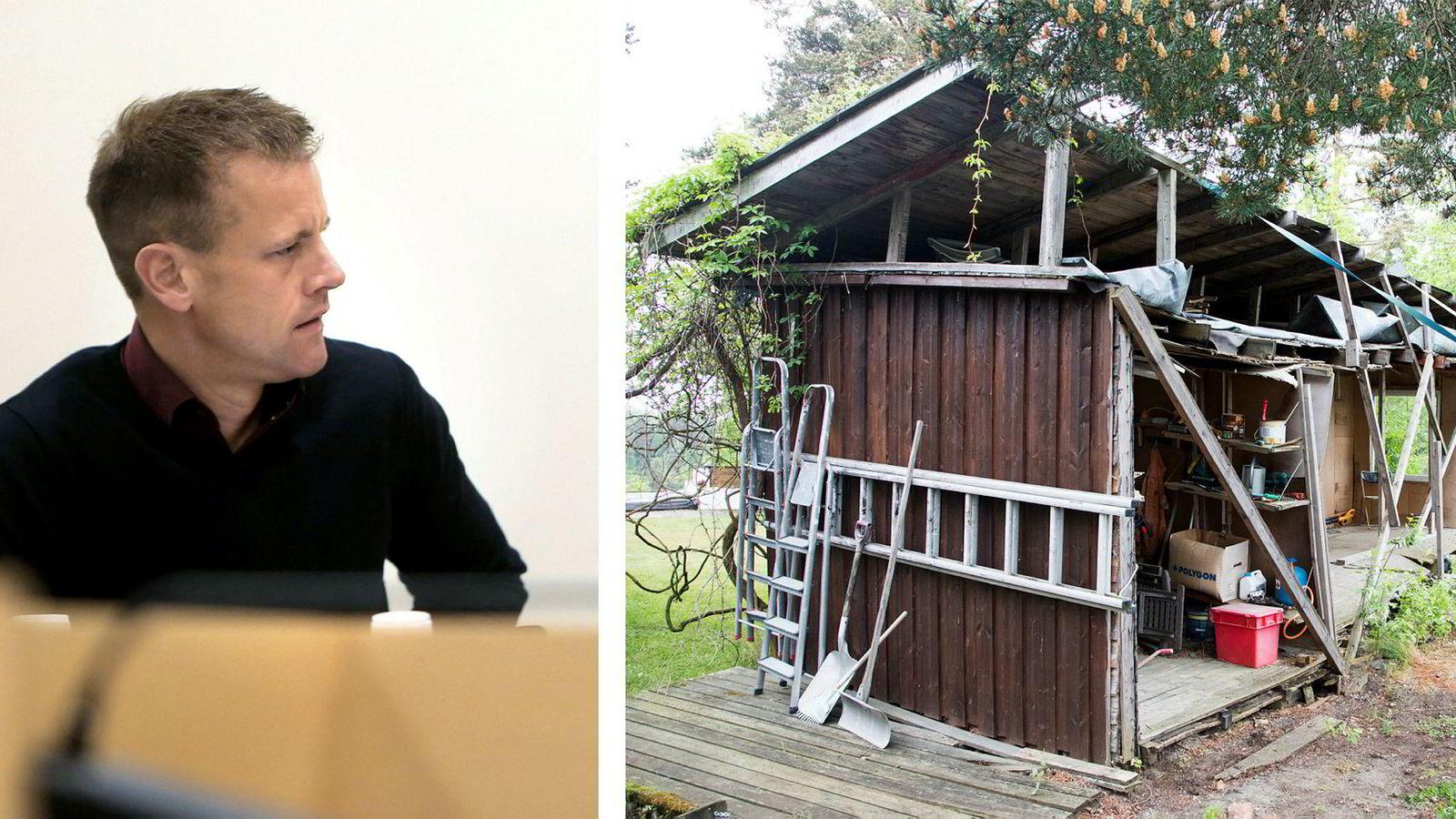 Arne Vigeland ble kjent etter å ha kappet naboen uthus i to på grunn av en nabotvist. Nå går han til søksmål mot RenoNorden som gikk konkurs i 2017.