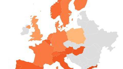 Oslo Børs falt tilbake i likhet med alle de andre store børsene i Europa mandag. Grafikk: Infront