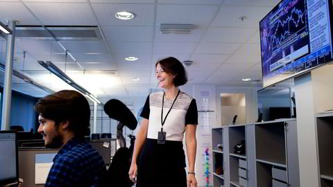 Skagens investeringsdirektør Alexandra Morris har vært én uke i ny jobb og planlegger investormøter for å få mer penger inn i fondene. Satsingen er fortsatt størst i globale aksjer. Foto: Tomas Larsen