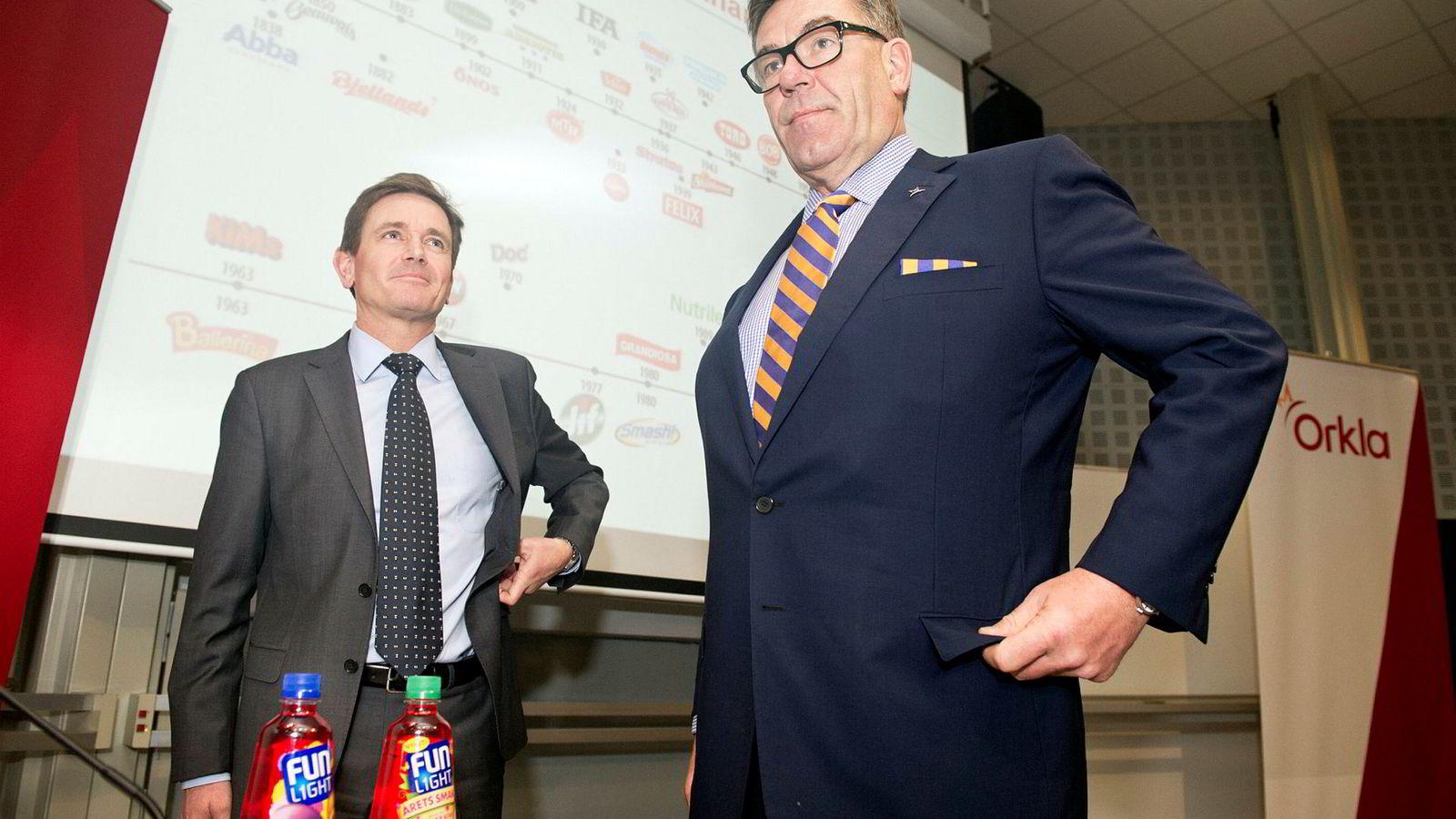Orklas styreleder Stein Erik Hagen (t.h.) og Orkla-sjef Peter Ruzicka